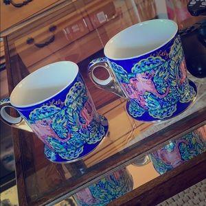 Lily Pulitzer Coffee Mugs Cups Tea x2 💙💙